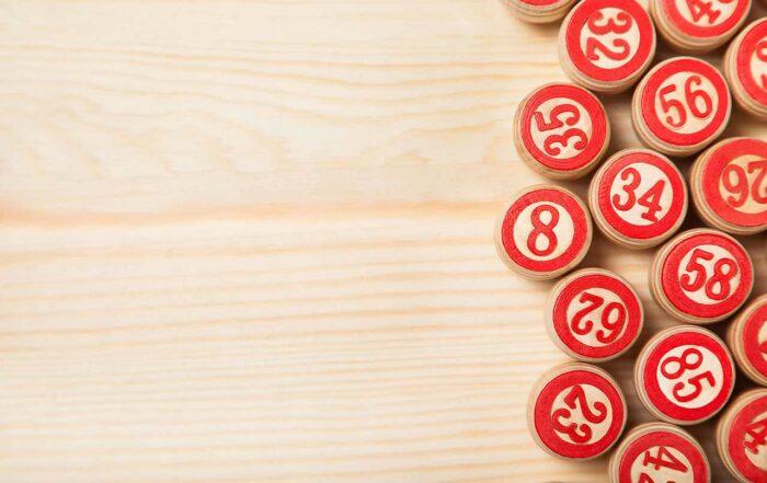Bingo lotto on wooden background