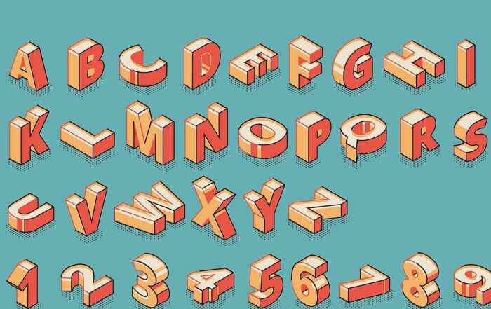 Isometric alphabet and numbers standing and lying in raw on blue retro colored background